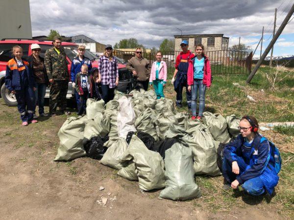 Волонтёры и дети из школьного трудового отряда собрали почти полтонны бытовых отходов и строительного мусора.