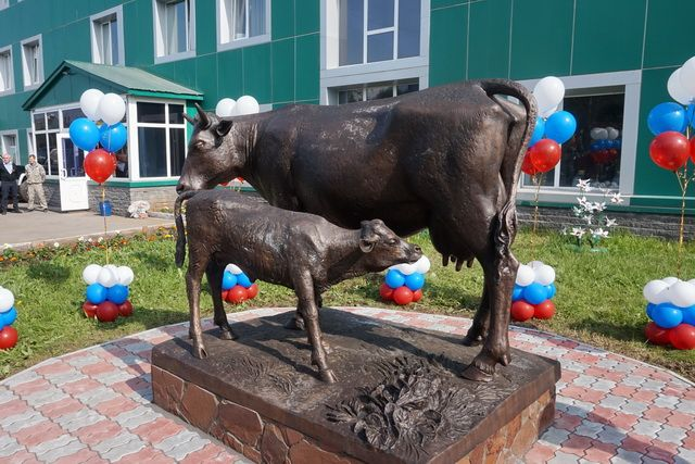 Новой скульптурной композицией украшен сквер возле здания молокозавода в Петропавловске-Камчатском. Там установили бронзовых корову с телёнком в натуральную величину